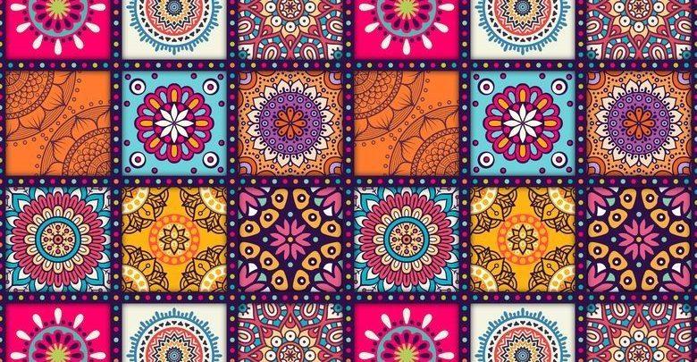 دانلود وکتور پس زمینه اسلیمی رنگارنگ با کیفیت بالا با فرمت Eps + jpg