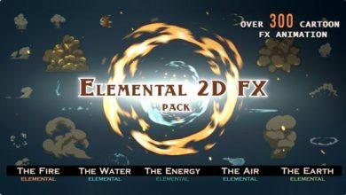 300 المنت کارتونی برای ساخت موشن گرافیک Elemental 2D FX pack