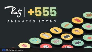 دانلود مجموعه آیکون انیمیشن پریمیرVideoHive : Pixity Animated Icons for Premiere Pro