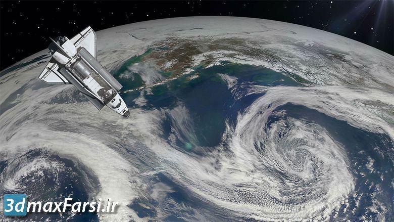 دانلود فوتیج موشن گرافیک حرکت کره زمین Space Shuttle above Earth