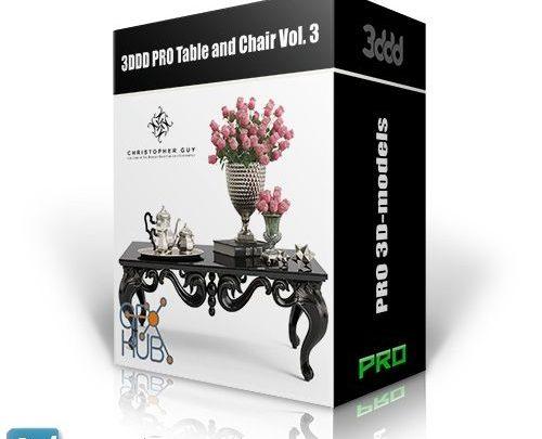 آبجکت میز و صندلی برای دکوراسیون و رندر داخلی 3DDD PRO Table and Chair Vol. 3