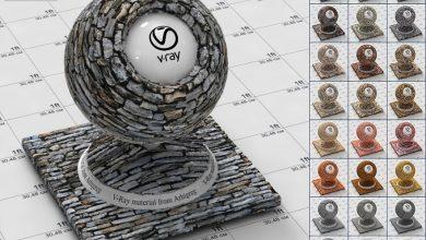 آموزش ساخت متریال سنگ نما تری دی مکس ویری فتوشاپ