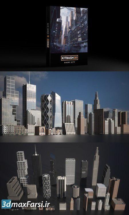 مجموعه فایل سه بعدی حجم ساختمان تری دی مکس Kitbash3D Every City