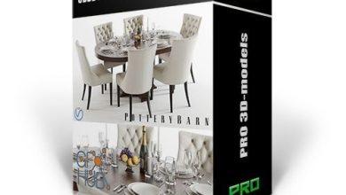آبجکت سه بعدی میز و صندلی کلاسیک مدرن 3DDD PRO Table and Chair Vol. 1