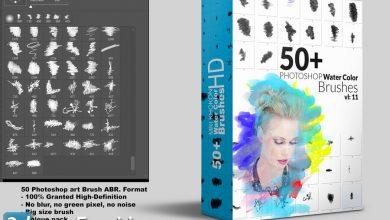 دانلود 50 براش واتر کالور فتوشاپ با کیفیت بالا Hi-Res Watercolor Photoshop Brushes