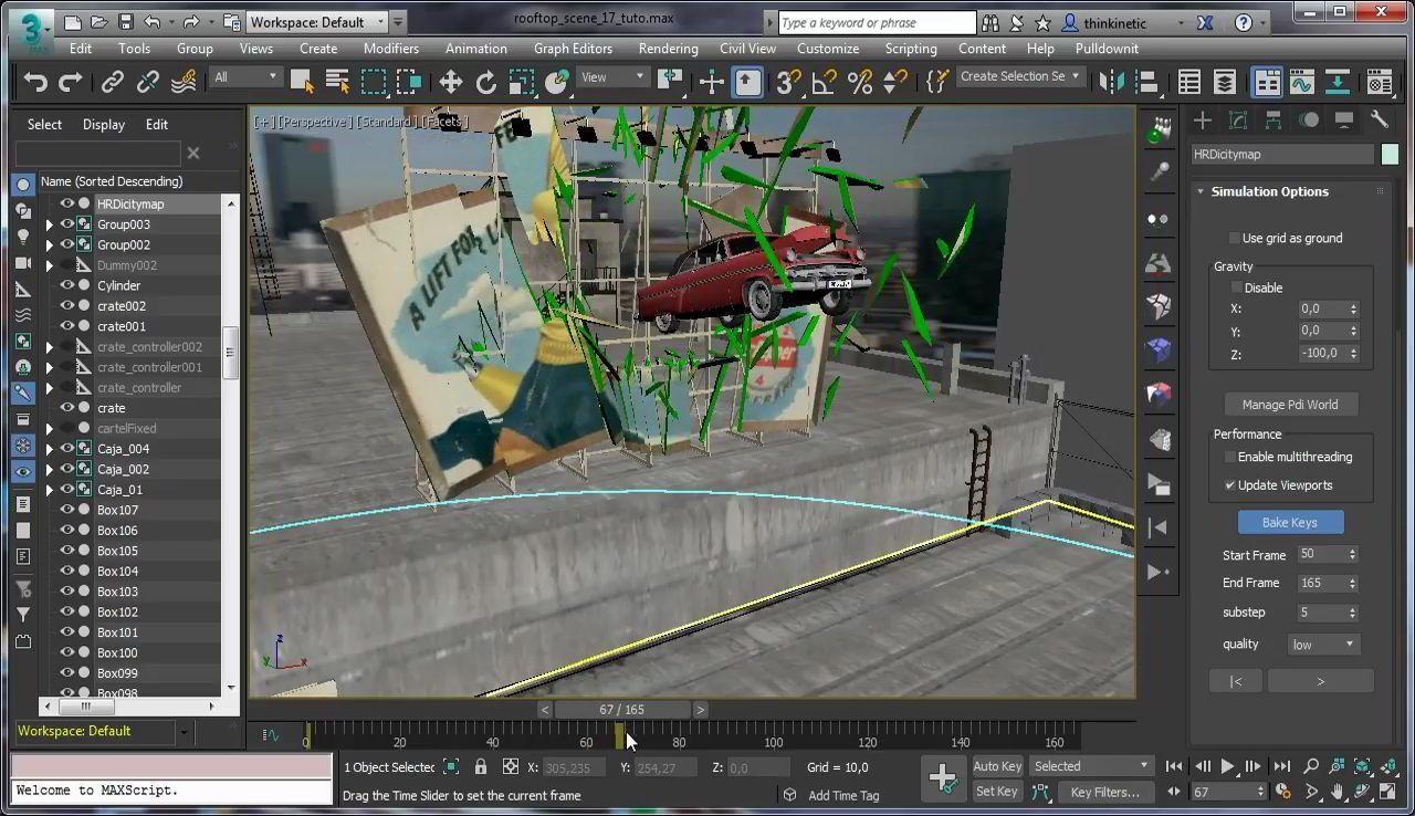 آموزش پلاگین شکستن و خرد شدن تری دی مکس مایا Pulldownit 3d Max انیمیشن تری دی مکس