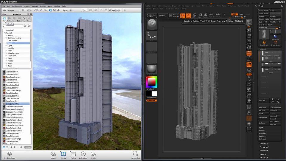 آموزشزیبراش در طراحی معماری ساختمانZBrush sculpting