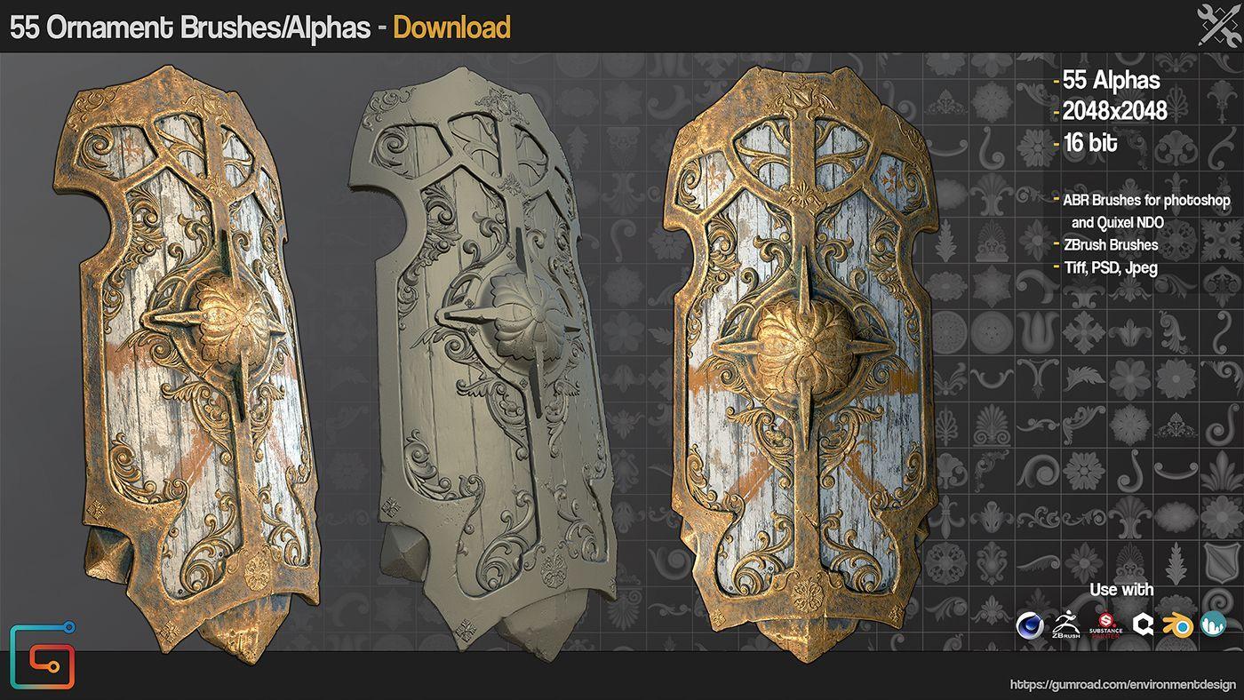 دانلود قلمو آماده برای زیبراش JRO - 55 Ornament Brushes/Alphas Vol1