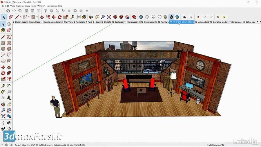 دانلود آموزش طراحی صحنه داخلی اسکچاپ SketchUp for Set Design