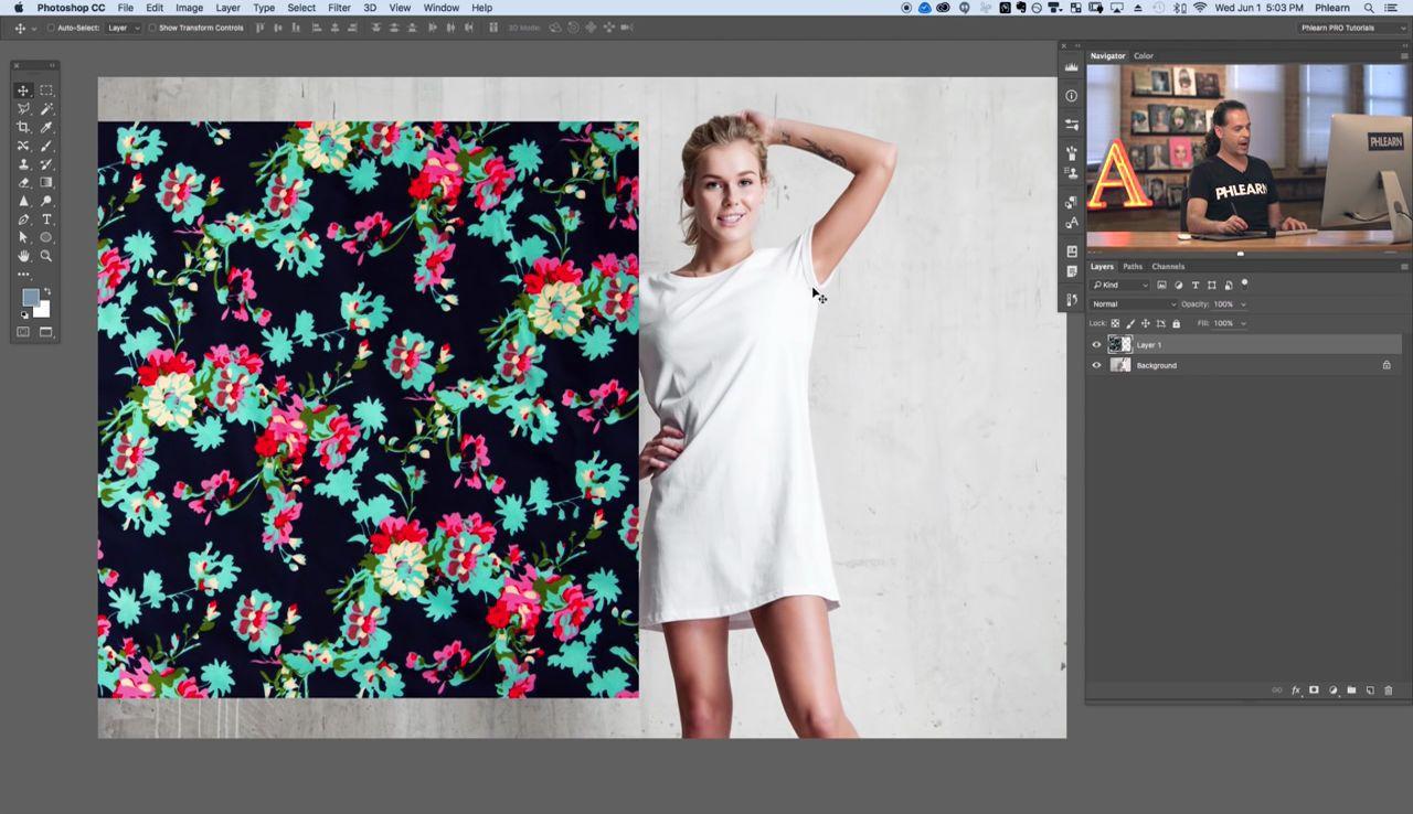 آموزش ترکیب یک عکس روی پارچه فتوشاپ