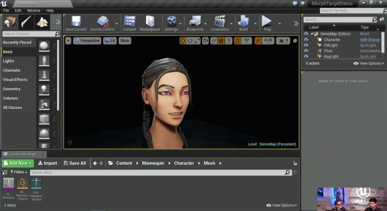 آموزش کنترل کاراکتر تری دی مکس برای بازی سازی آنریل اینجین Morph targets