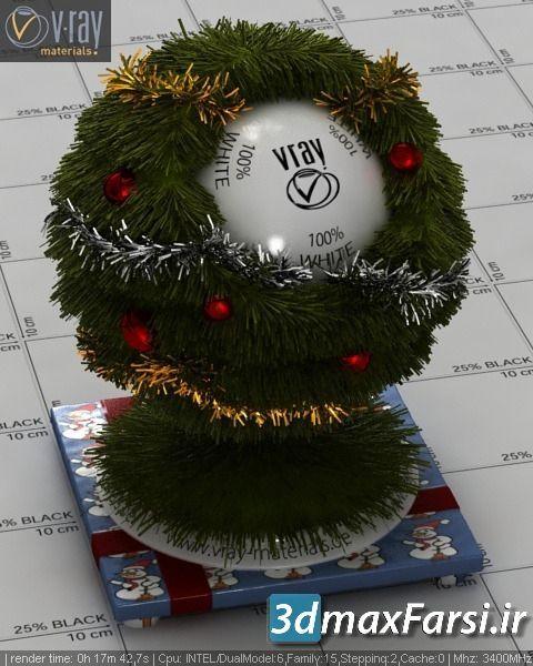 متریال مو پشم خز چمن کریسمس تری دی مکس ویری