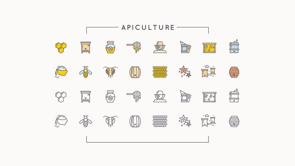 دانلود آیکن کشاورزی و باغبانی ایلوستریتور creativemarket 112 icons farm gardeningapiculture