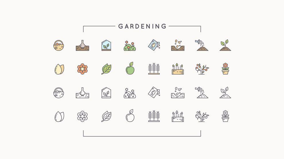 دانلود رایگان آیکن کشاورزی و باغبانی ایلوستریتور creativemarket 112 icons farm gardeningapiculture
