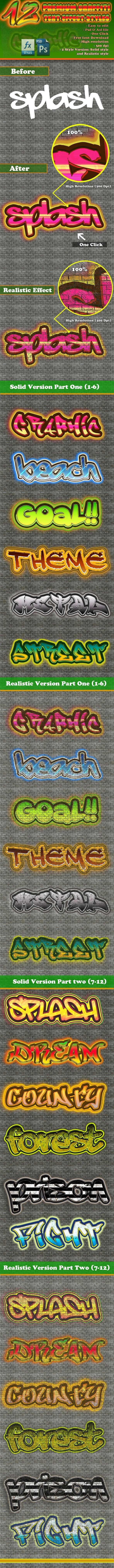 استایل متن گرافیتی Graphicriver : 12 Premium Graffiti Text Effect Style