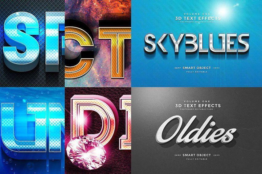 دانلود فونت سه بعدی فتوشاپ Creativemarket: 150 3D Text Effects for Photoshop