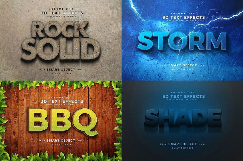 استایل فونت فتوشاپ Creativemarket: 150 3D Text Effects for Photoshop