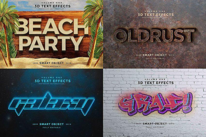 دانلود موکاپ متن سه بعدی Creativemarket: 150 3D Text Effects for Photoshop