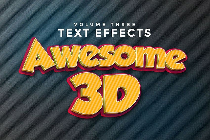 لایه باز سه بعدی Creativemarket: 150 3D Text Effects for Photoshop