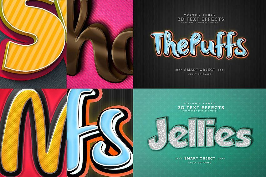 فونت psd Creativemarket: 150 3D Text Effects for Photoshop