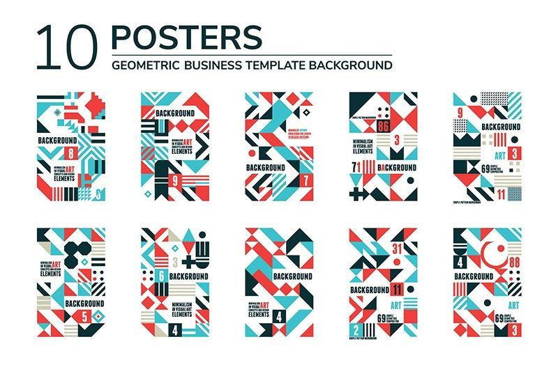 دانلود creativemarket 20 GEOMETRIC POSTERS & 70 SHAPES