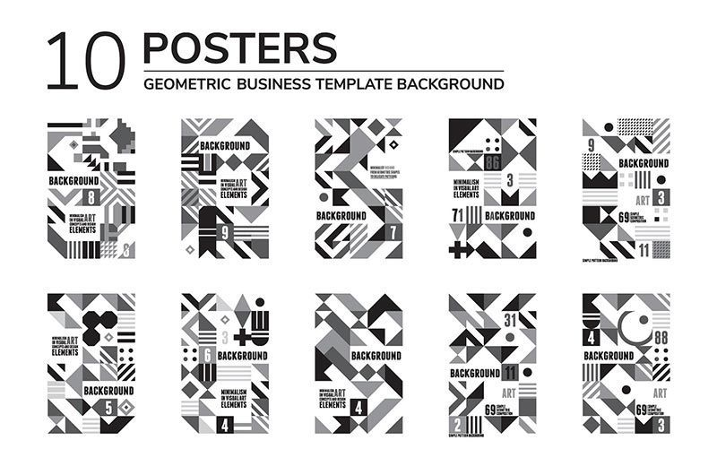 دانلود شکل وکتور creativemarket 20 GEOMETRIC POSTERS & 70 SHAPES