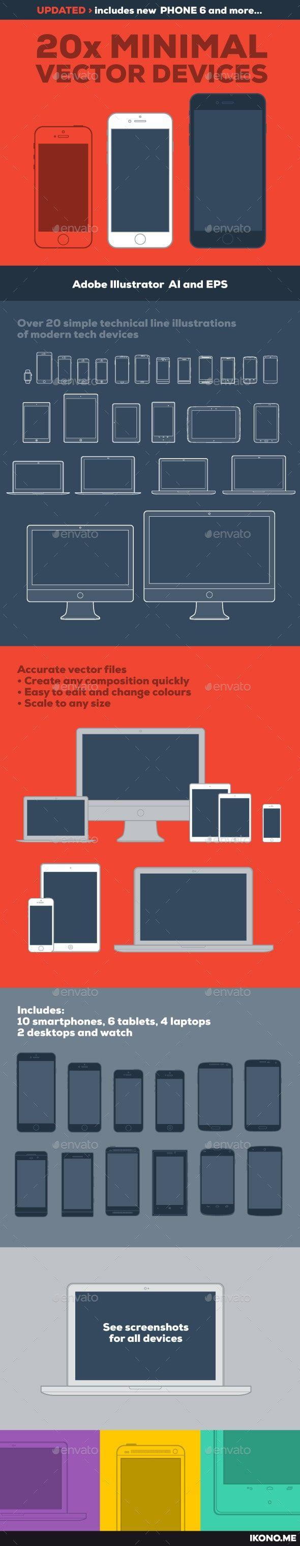 دانلود رايگان فايل : 20 طرح وکتور مینیمال برای تجهیزات الکترونیکی graphicriver 20 Minimal Vector Devices
