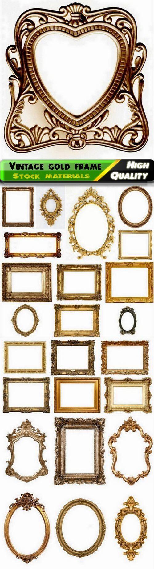 دانلود Vintage gold retro blank frame for picture Best images