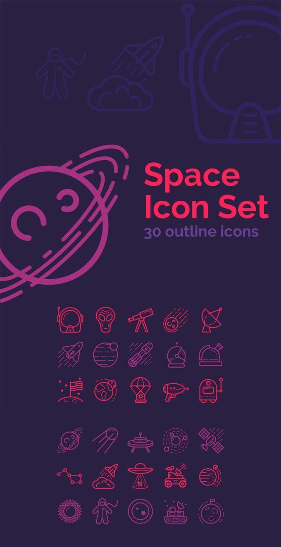 دانلود رايگان فايل مجموعه 30 نوع آیکون خطی فضا Space Outline Icons
