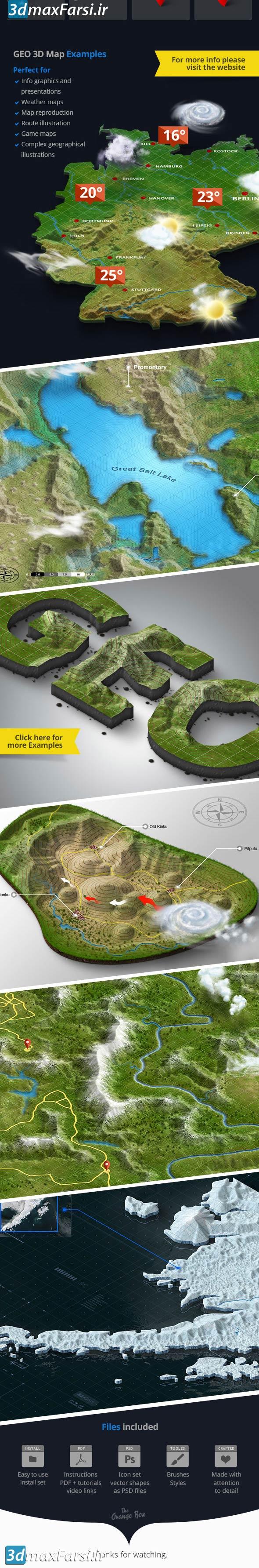 پلاگین فتوشاپ نقشهساز سهبعدی 3D Map Generator GEO