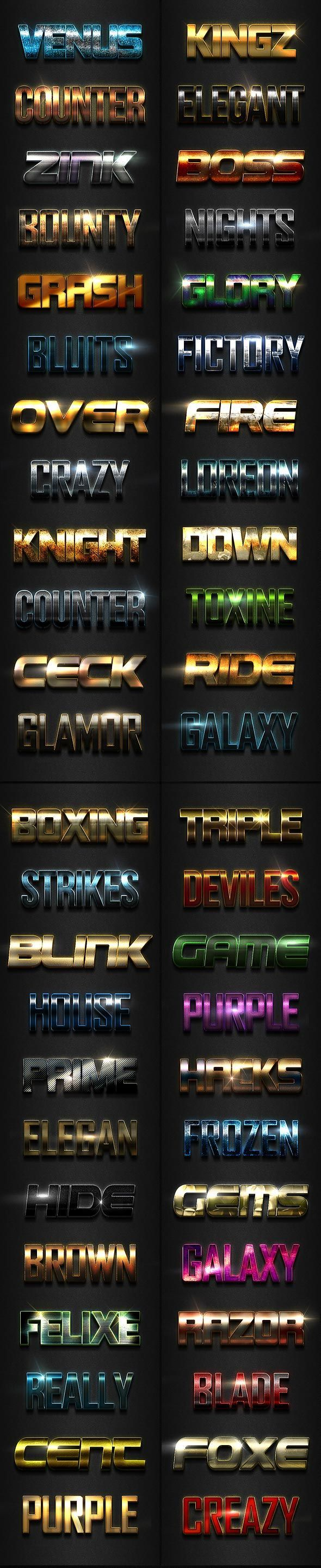 دانلود Graphicriver : 3D Photoshop Text Effects Big Bundle