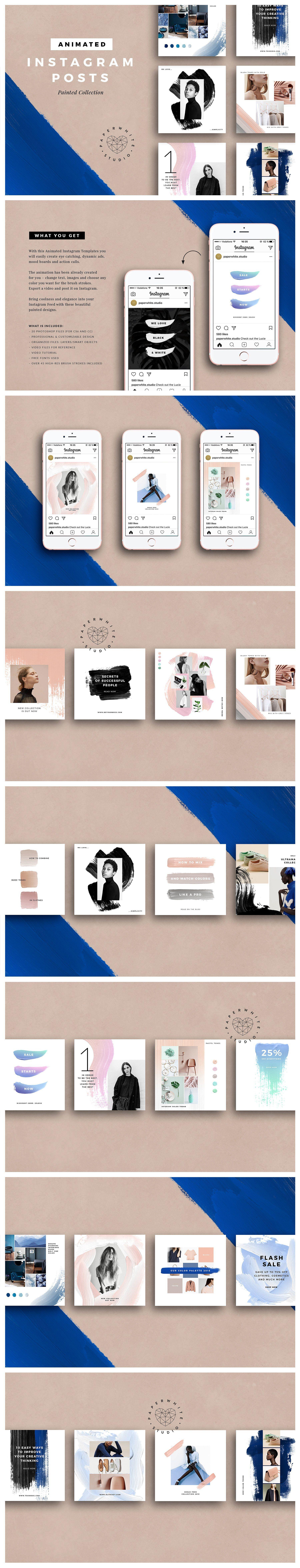 دانلود طراحی پست اینستاگرام قالب پست استوری اینستاگرام Creativemarket : ANIMATED Painted Instagram Posts