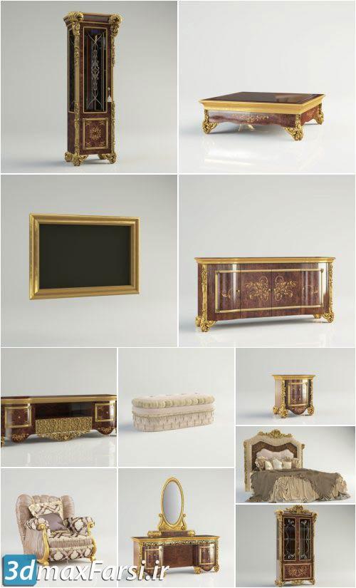 دانلود آبجکت تخت خواب کلاسیک سلطنتی
