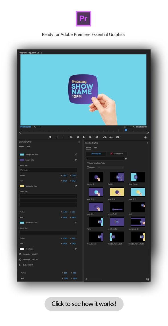 دانلود videohive :Broadcast Hand Package Essential Graphics | Mogrt
