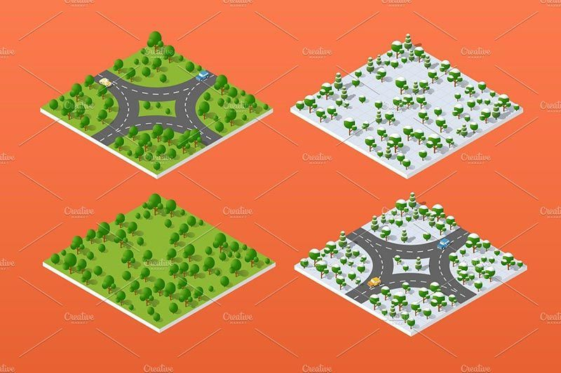 دانلود وکتور شهر ساختمان پرسپکتیو معماری برای فتوشاپ ایلوستریتور Creativemarke city bundle module creator nature forest