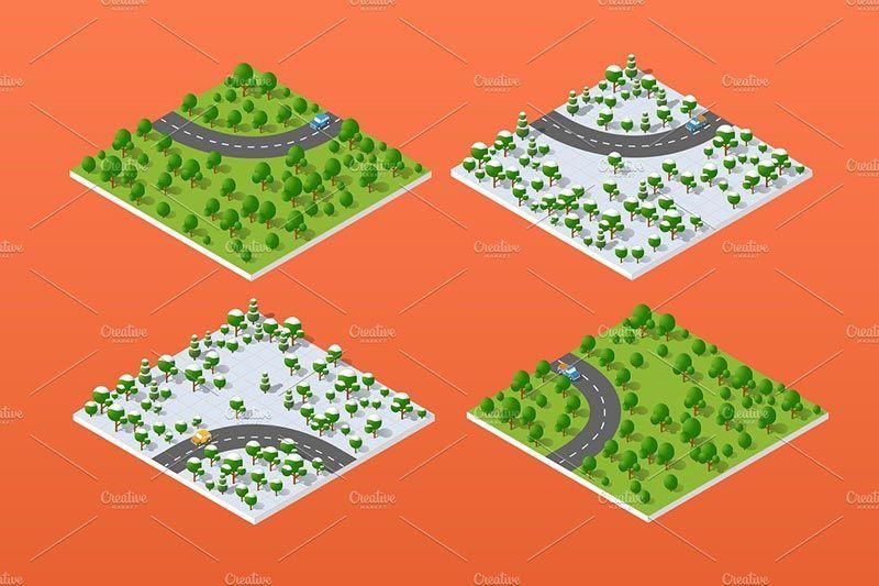 دانلود وکتور شهر ساختمان پرسپکتیو معماری Creativemarke city bundle module creator nature forest