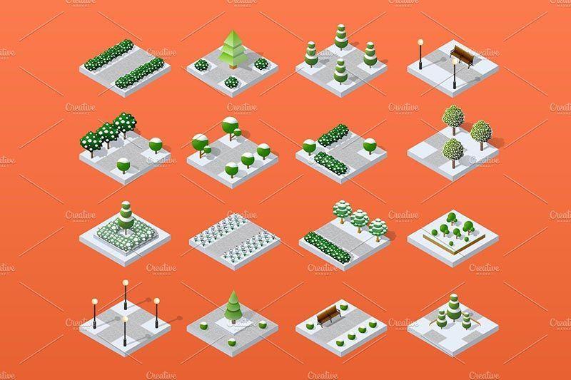 دانلود رايگان فايل : باندل اجزای گرافیکی ساخت شهر ایزومتریک
