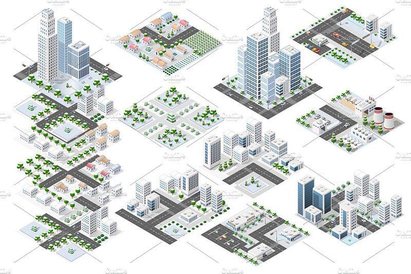 دانلود وکتور ساختمان و برج city bundle module creator