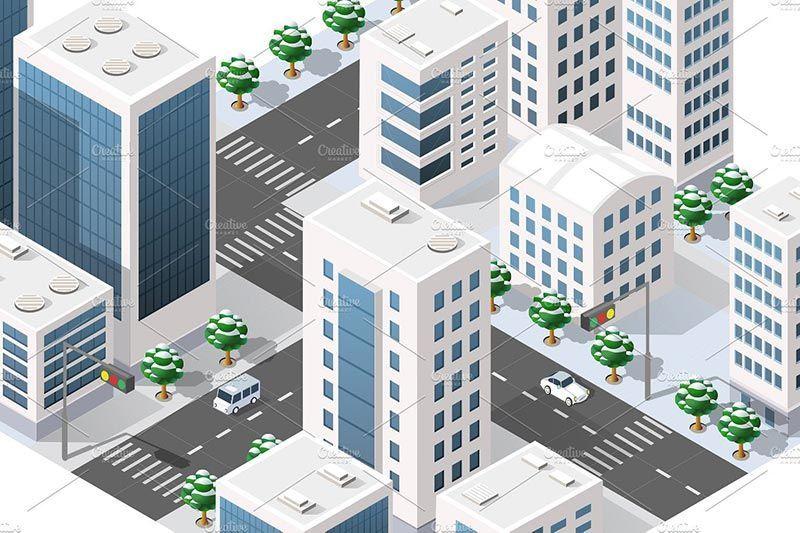 دانلود تصاویر وکتور ساختمان های شهر city bundle module creator