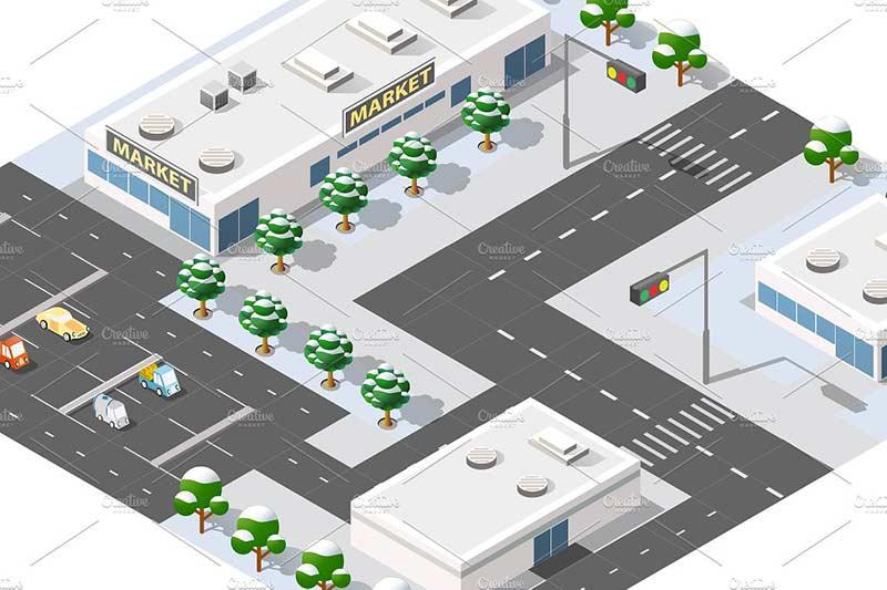دانلود وکتور گرافیکی ساختمان و اماکن شهری city bundle module creator