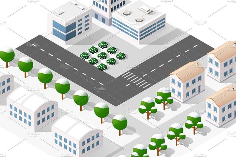 دانلود وکتور ساختمان شهر city bundle module creator