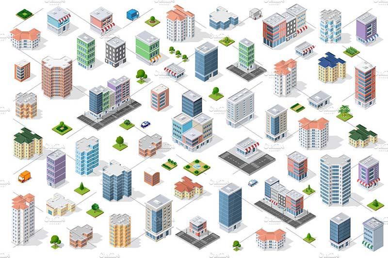 دانلود وکتور ساختمان برای فتوشاپ ایلوستریتور city bundle module creator