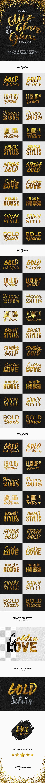 دانلود استایل متن طلایی فتوشاپ Glitz, Glam & Glass Gold Text Effects
