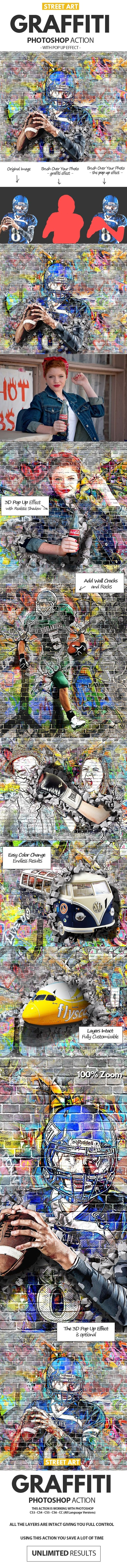 دانلود graphicriver : Graffiti Effect with Pop Up Photoshop Action