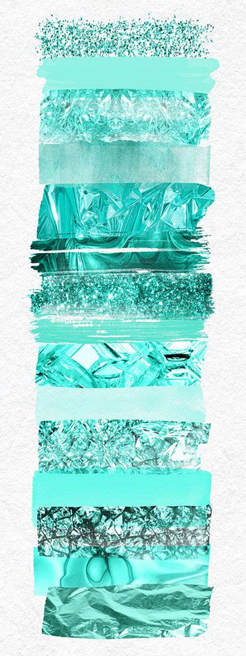مجموعه 15 نوع عکس بدون زمینه براش آبرنگ سبز نعنایی creativemarket: Green Mint paint brush strokes