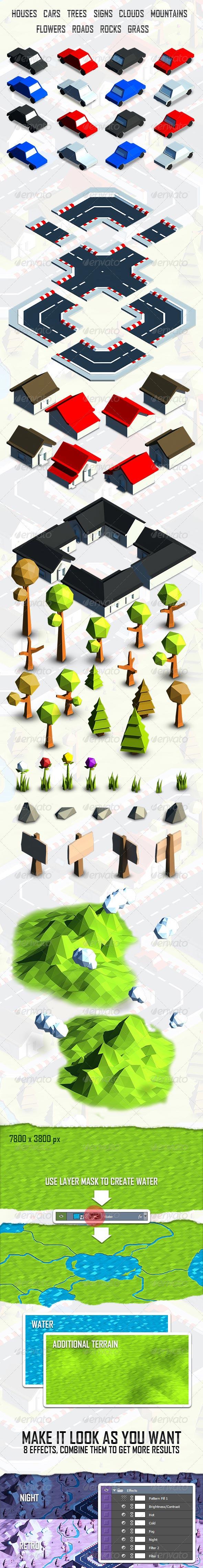دانلود رايگان قالب اجزای طراحی گرافیک هنری graphicriver Low Poly Art Maker