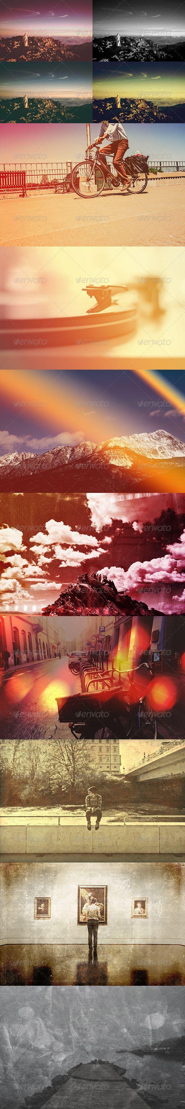 مجموعه گرافیکی باندل افکت نور و افکت فیلم رترو High light filter template