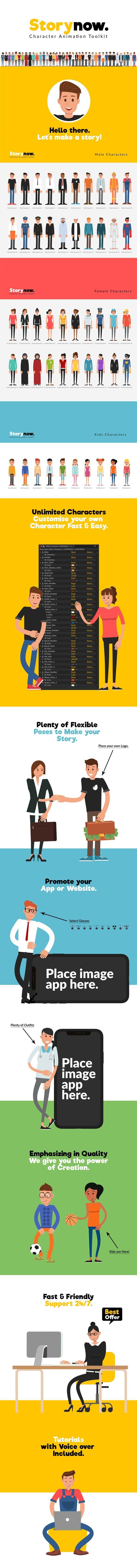 پروژه افترافکت جعبه ابزار موشن گرافیک کاراکتر Story Now Story Now | Character Animation Explainer Toolkit
