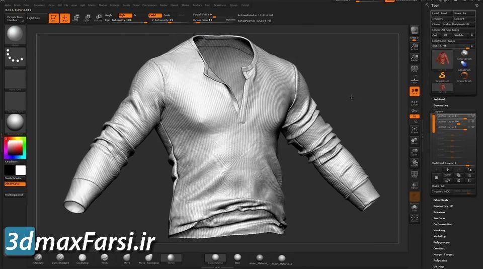 آموزش مدلسازی لباس زیبراش با جزئیات بالا Detailing Clothes in ZBrush