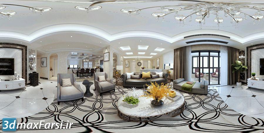 دانلود صحنه داخلی نئو کلاسیک 360 Living Dining Kitchen Room Neoclass Styles